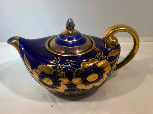 ALADDIN ARTHER WOOD Blue & Gilt Vintage Teapot