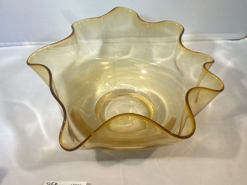 Beautiful Art Glass Handkerchief Bowl - Fluted Edge, Handblown