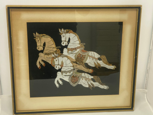 Framed Oriental Style Painting or Screen Print  - Horses on Black Fabric