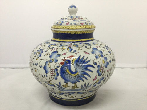 European Pottery Vase With Lid 18cm