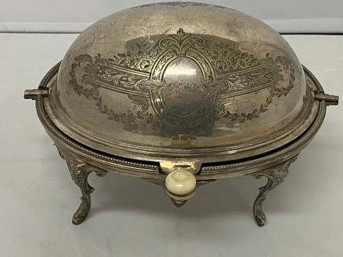 Vintage Silver Plated Food Server with Dome Lid & Ivory Knob