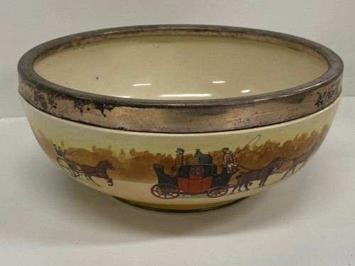 RARE ROYAL DOULTON 'COACHING DAYS' Earthenware Silver Plated Topped Bowl c.1906, D2716