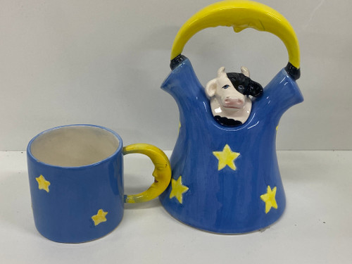 CLAY ART 1993 Handpainted COW UNDER THE MOON Teapot & Cup Set