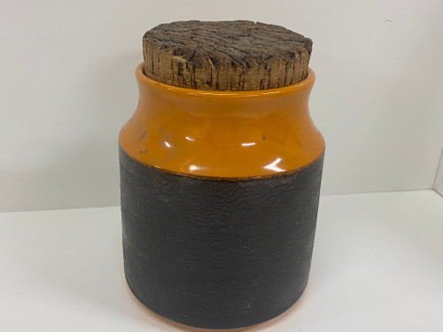 Orange Retro HANSTAN Pottery RICE Kitchen Canister w/Cork Lid, 15cm Tall