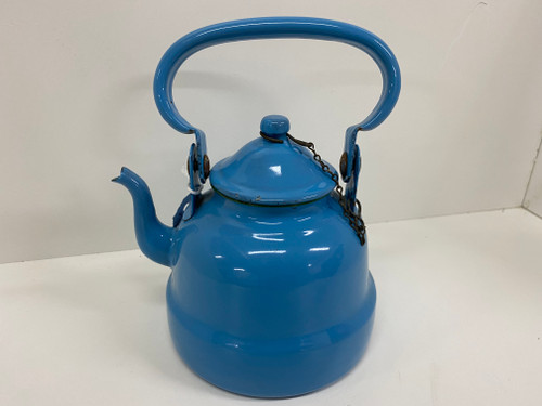 Vintage Bright Blue Enamel Teapot with Lid