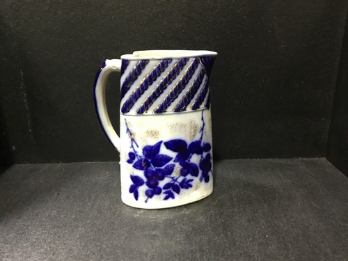 Antique Flow Blue Heart Shaped Jug