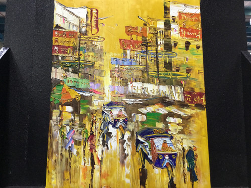 Bright Oriental Oil Painting On Canvas - W33cm x H42cm