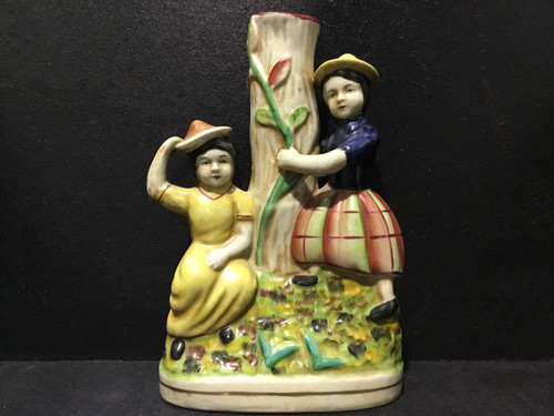 Painted Ceramic Vase of Two Woman - 25cm