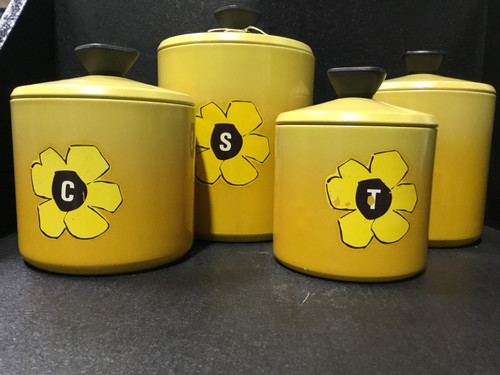 Retro Yellow Floral Canisters Set