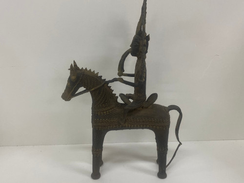 Rare Tribal Bronze Shiva Horseback Figure w/Clay Core, Dhokra, India