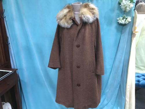 Mohair Cashmere Coat with Fox Fur Collar