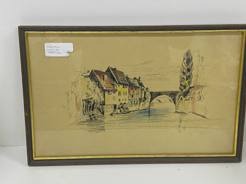 Framed Painting/Print on Fabric - Ully Seyffer 1977