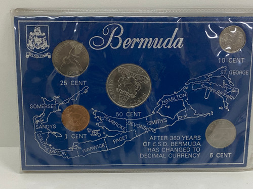 Bermuda 1970's Coin Set In Case - 5 Collectable Coins