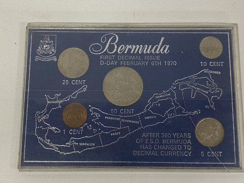 Bermuda 1970 First Decimal Issue Coin Set In Hard Case - 5 Collectable Coins