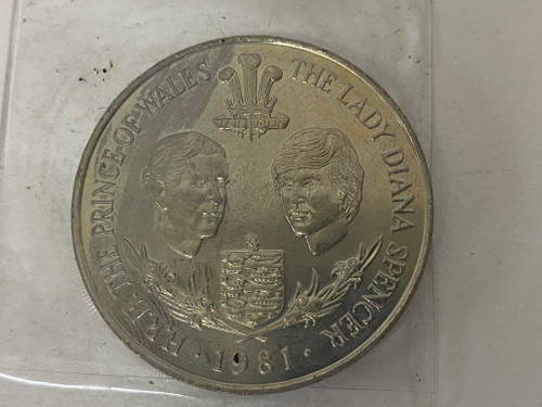Royal Wedding BAILIWICK OF GUERNSEY 25 Pence 1981 Collectable Coin