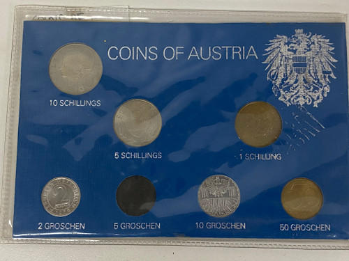 Coins of Austria Set - c1978 Collectable Coin Set on Card