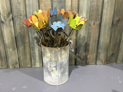 Large Rustic Flowers & Bucket Display