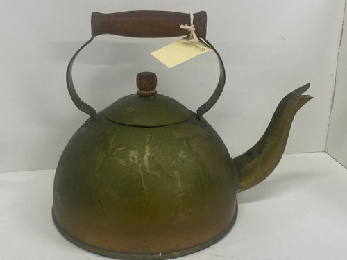 Large Brass Teapot with Wooden Handle - 24cm Tall