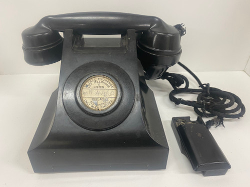Vintage Black Bakelite Telephone 'To Call Exchange Pick Up & Listen'