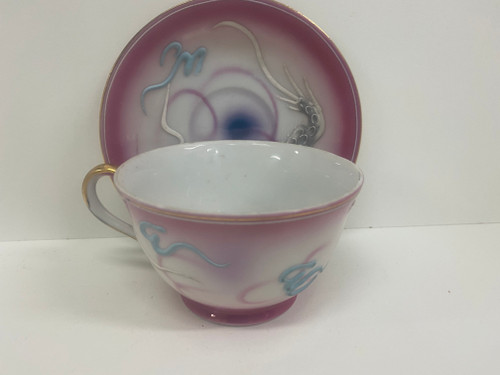 Handpainted GEISHA GIRL Dragon Pink Cup & Saucer Set
