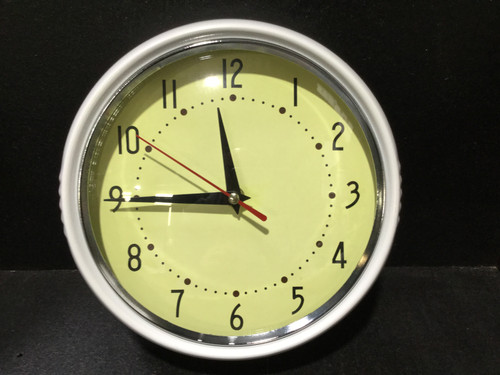 Classic Retro White Clock With Yellow Face