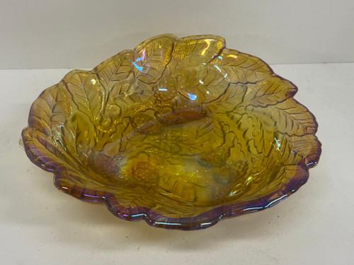 Orange Marigold Carnival Glass Triangular Leaf & Berry Bowl