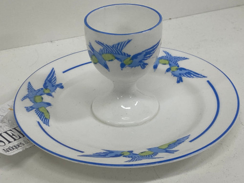 EB & Co FOLEY Eggcup with Base - Green & Blue Bird Design