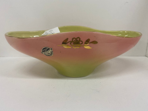 DIANA Australia Pink & Pastel Yellow Lustre Vase with Gold Floral Design