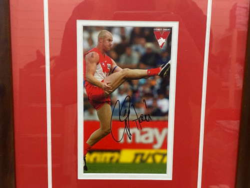 Framed Autographed BARRY HALL Sydney Swans Photograph
