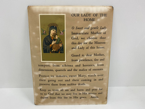 Vintage Religious Print with Card 'Our Lady Of The Home'