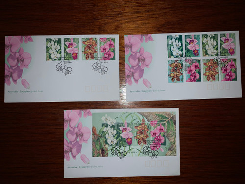 Set of 3 Australian First Day Covers - Joint issue with Singapore 1998