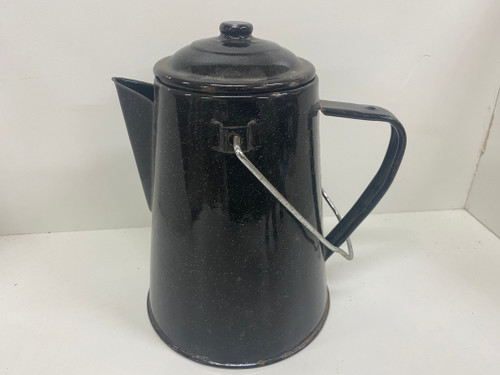 Vintage Black Enamel Teapot with Lid and Handle - 22cm Tall
