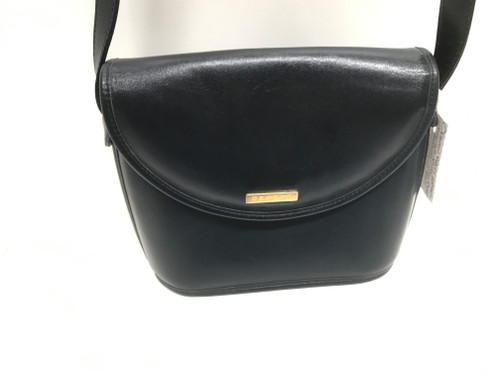 Oroton Navy Leather Shoulder Bag - As New