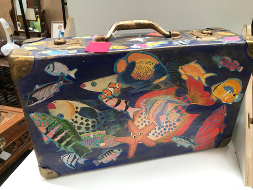 Painted Suitcase with Fish Decals