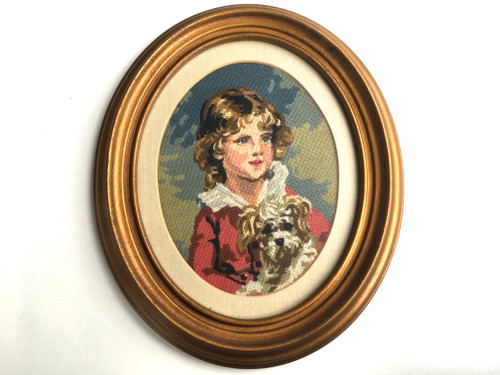 Framed Petit Point Child With Dog