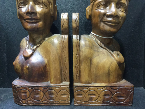 Pair Of Wooden Hand Carved Tribal Bookends - 32cm Tall