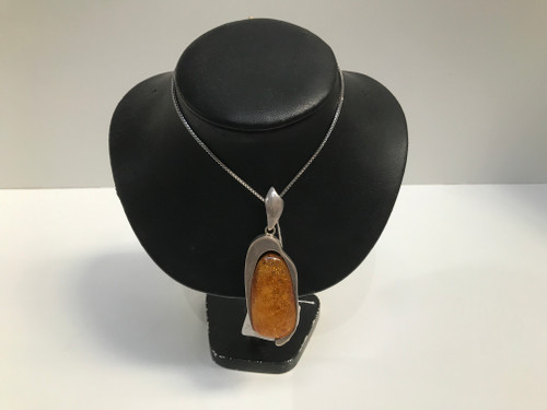 Amber Sterling Silver 925 Pendant Necklace