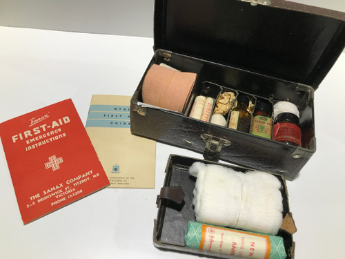 Vintage First Aid Kit with Booklet