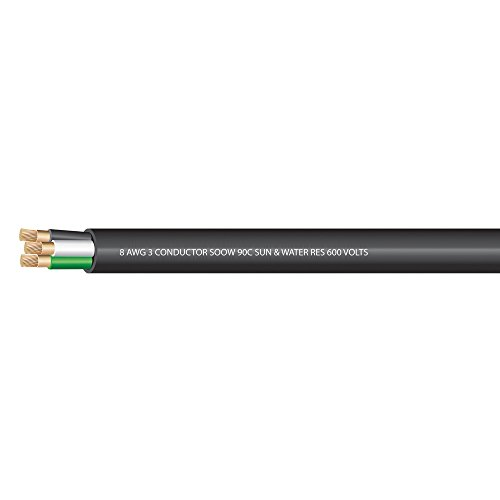 8 AWG 3 conductors SOOW Portable Cord 600 Volts -40C +90C Hard Usage (Non-UL) - (SELECT FEET BELOW)