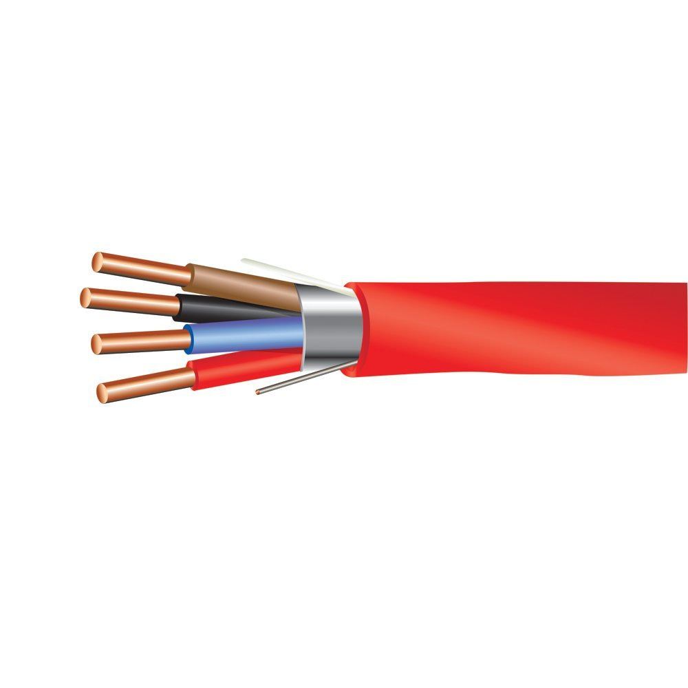 18 AWG 4/C Solid FPLR Riser Rated Shielded Fire Alarm Cable Red - 1000 Feet