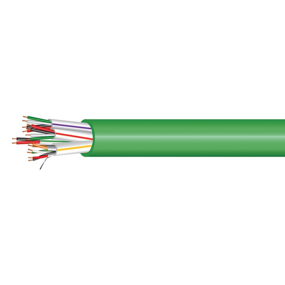Electronic Lock Access Composite Control Cable - Riser Rated - Green PVC Jacket - 500 Feet