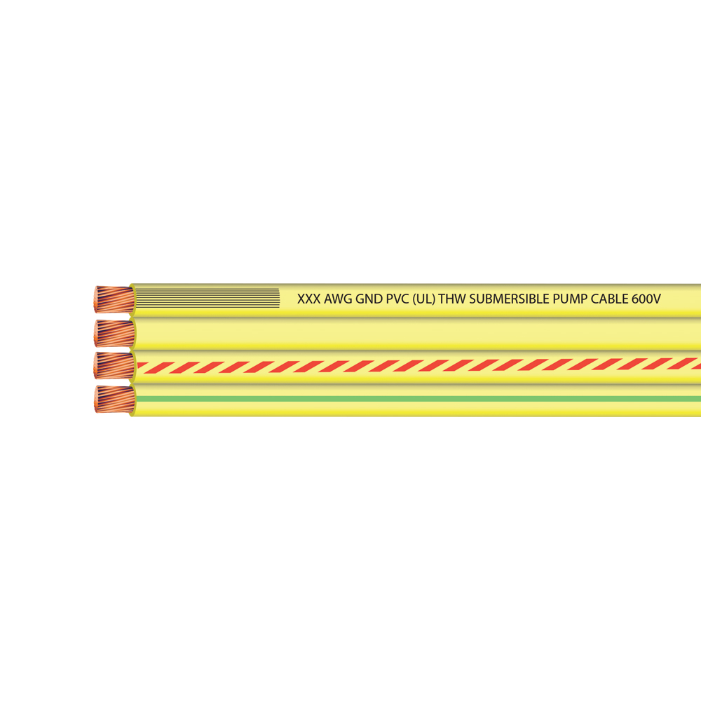 12 AWG 3 CONDUCTOR + GROUND FLAT YELLOW SUB PUMP 600 VOLTS