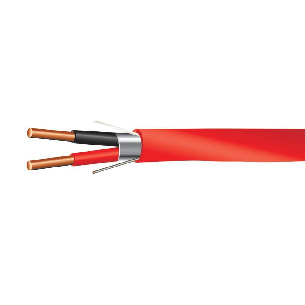 14 AWG 2/C Solid FPLP Plenum Rated Shielded Fire Alarm Cable Red - 1000 Feet