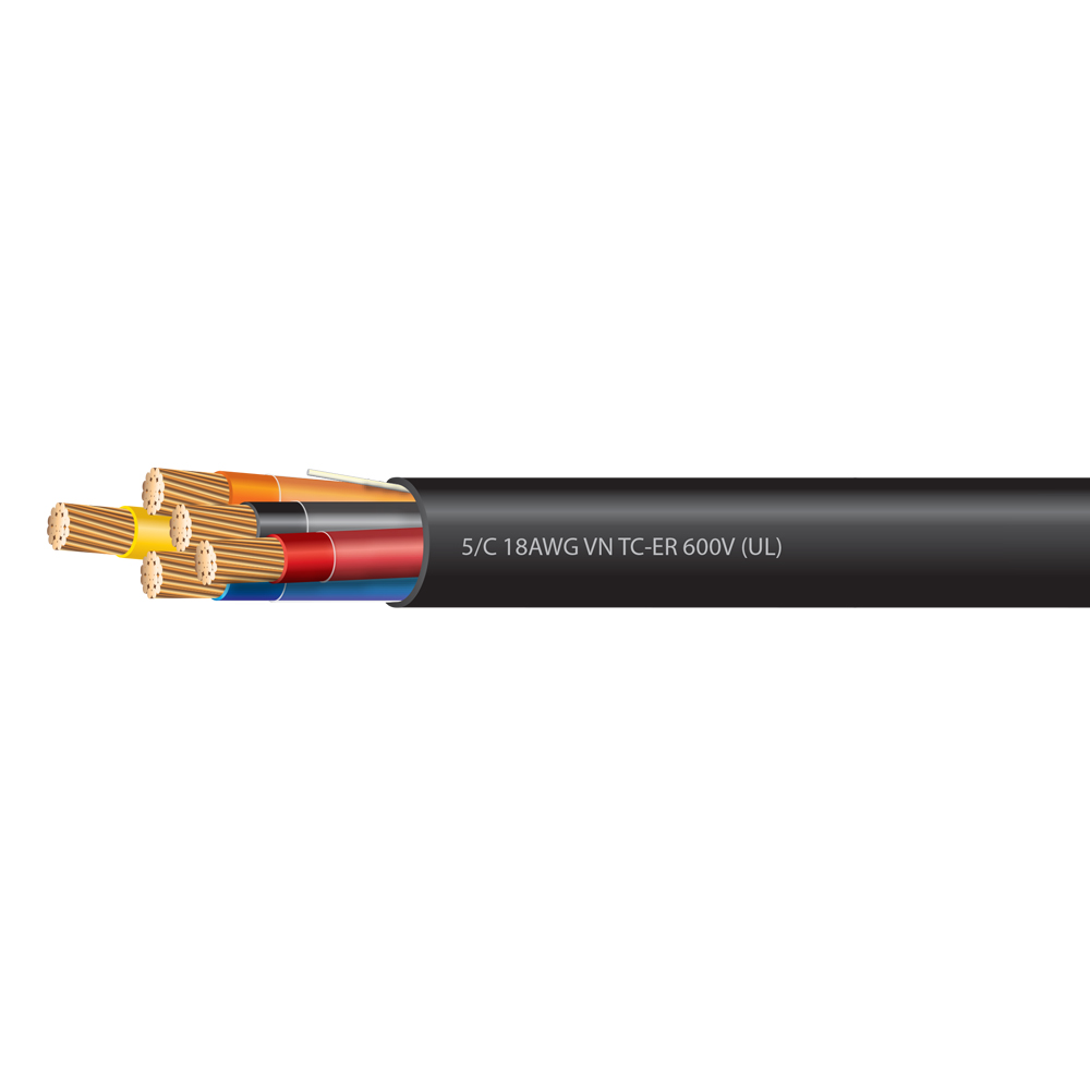 18 AWG 5 Conductor VNTC-ER Tray Cable 600 Volts (UL)