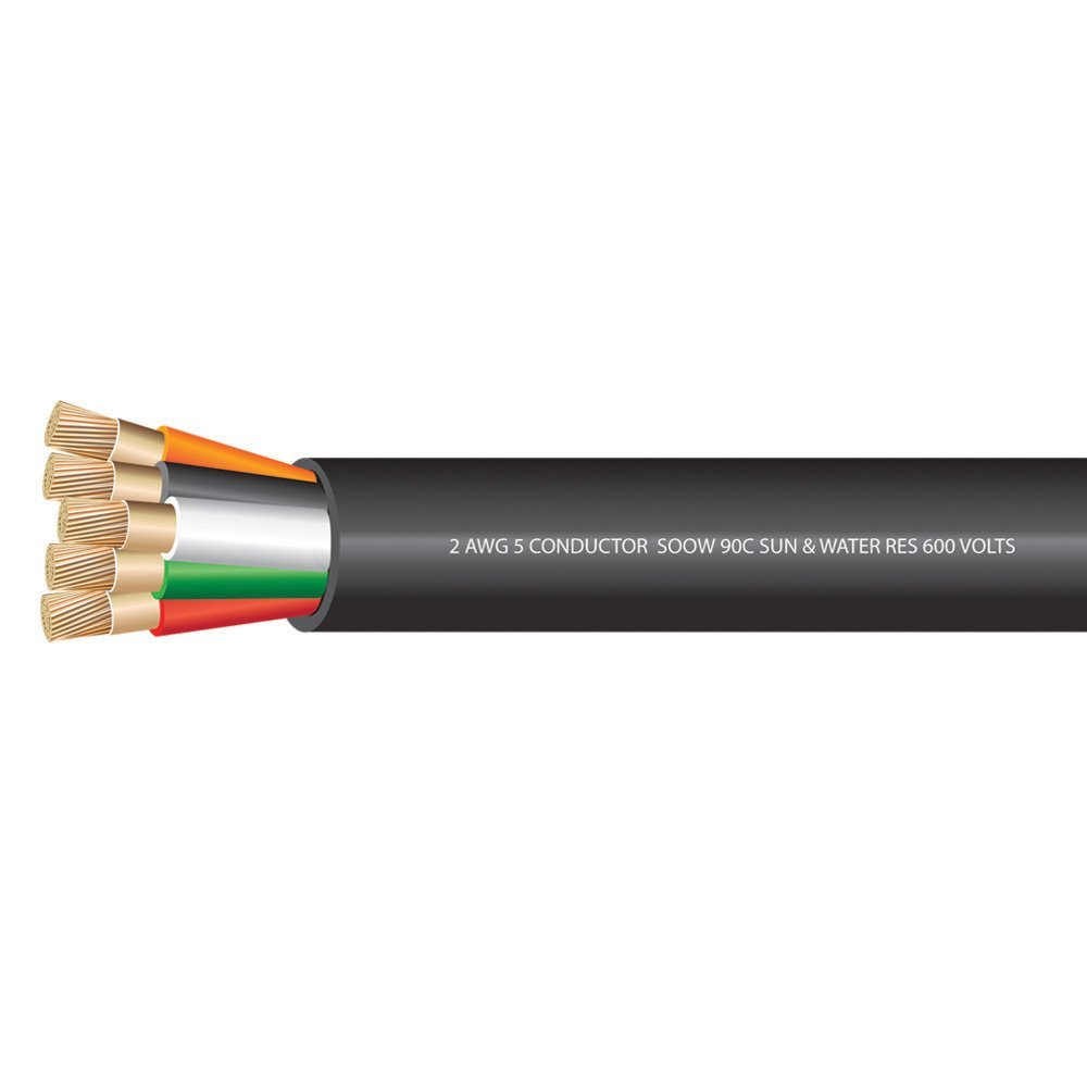 2 AWG 4 conductors SOOW Portable Cord 600 Volts -40C +90C Hard Usage (Non-UL) - (SELECT FEET BELOW)