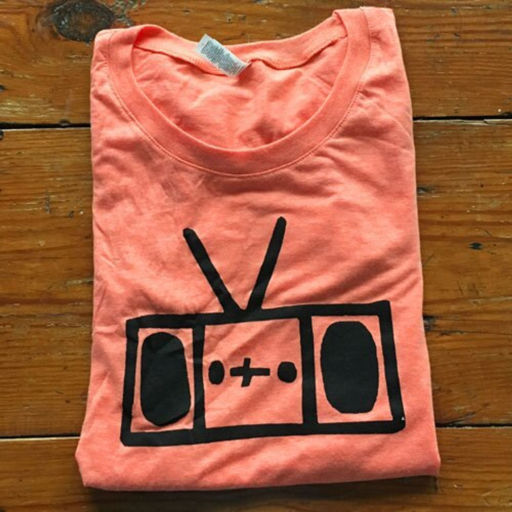 Two Dollar Radio Headquarters Radio shirt orange with black ink ladies fit