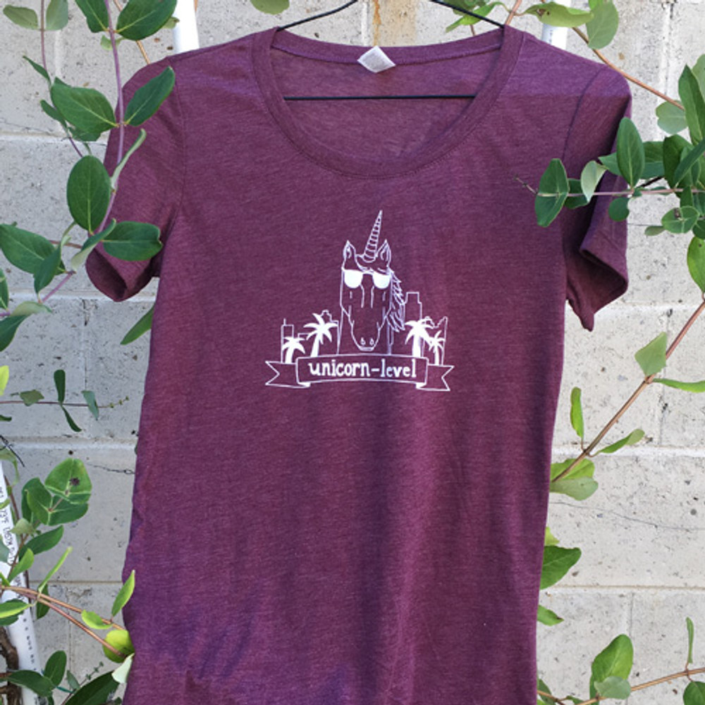 Two Dollar Radio Headquarters Unicorn-Level shirt maroon ladies fit