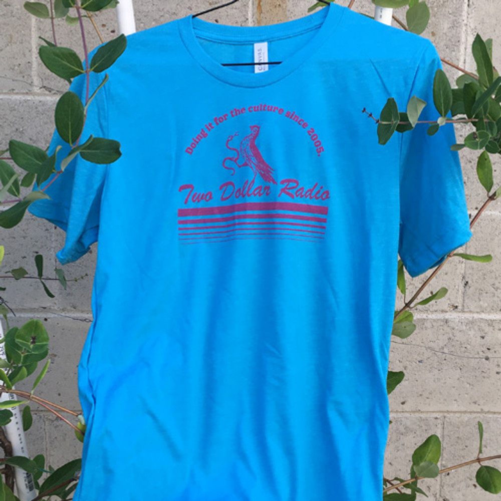 Two Dollar Radio Headquarters Bird and Snake Culture shirt aqua blue unisex fit