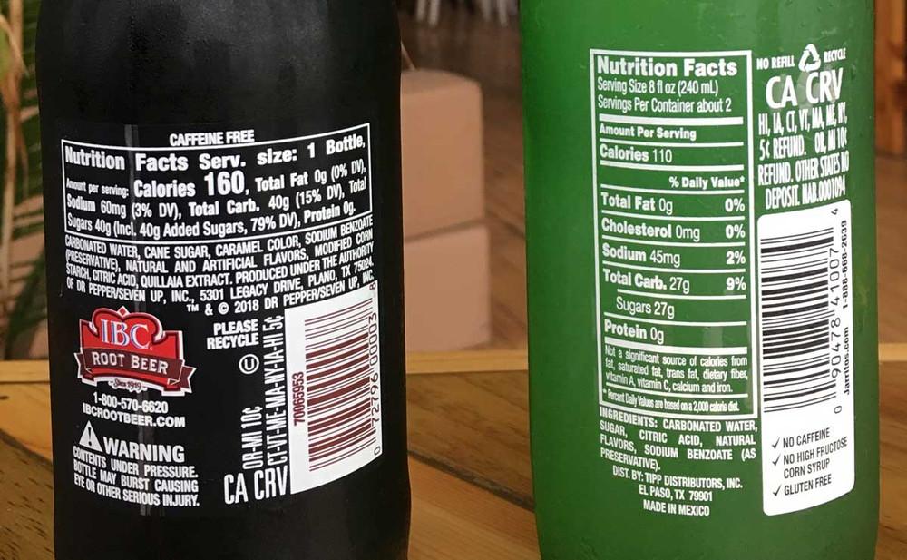 Grapefruit Jarrito's or IBC Root Beer, in a 12 oz bottle back labels