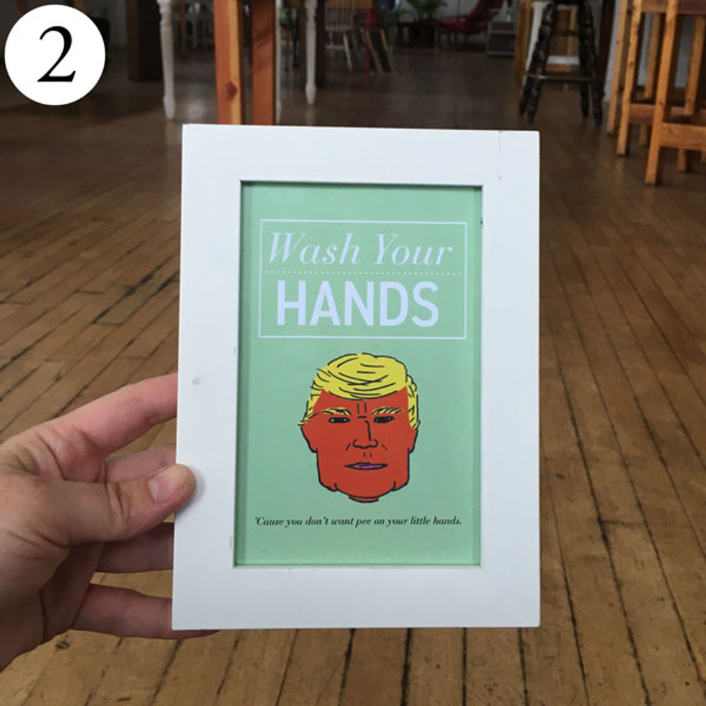 Little Hands Wash Your Hands art sign in frame, front view